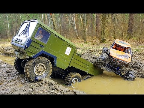 RC Trucks Mudding 4x4 VS 6x6 Scale OFF Road | THE BEAST RC4WD MAN Truck, Axial Wraith
