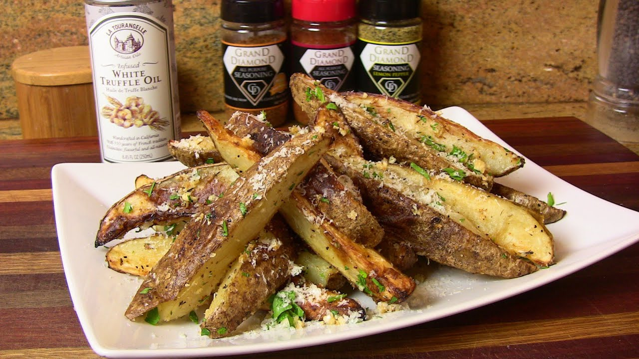 Truffle Oil, Garlic & Parmesan Cheese Oven Roasted Fries - YouTube