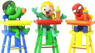 SUPERHERO MAKES LUNCH FOR SUPERHERO BABIES ❤ Superhero Babies Play Doh Cartoons For Kids