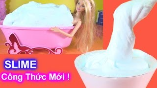 Cách Làm Slime Cực Giống Tuyết Bằng Gel Cạo Râu ( phần 1) Barbie Tắm Slime Tuyết