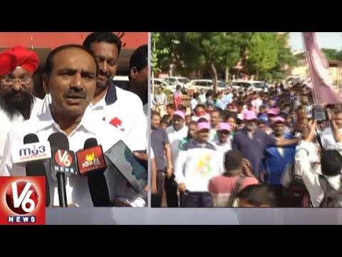 Finance Minister Etela Rajender Flags Off Olympic Day Run 2018 In Karimnagar | V6 News