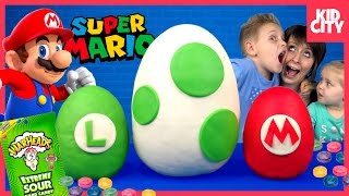 Super Mario Play-Doh Surprise Eggs Fun Toys with Warheads Sour Candy Game | KIDCITY