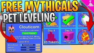 PET LEVEL UPDATE AND FREE MYTHICALS DAILY IN ROBLOX MINING SIMULATOR! *INSANE*
