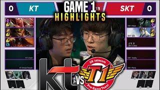 KT vs SKT Game 1 Highlights LCK Spring Week 5 Day 1 - KT Rolster vs SKT T1 Game 1 Highlights LCK
