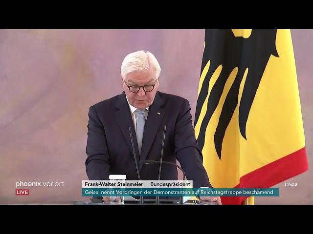 BundesprГsident Frank-Walter Steinmeier zu den Ausschreitungen vor dem Reichstag am 31.08.20.