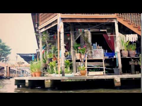 Moving Past Riverfront Stores In East Asia - Stock Footage | VideoHive 14165106