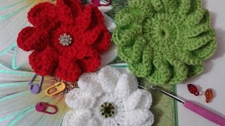 How to  Crochet 3D Flower Twisted Petals - love Crochet - كورشيه ورده بتلات ملتويه