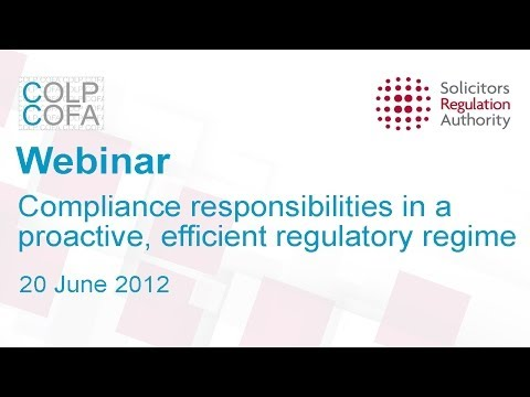 We set out our plans for compliance officers for legal practice (COLPs) and compliance officers for finance and administration (COFAs). We examine the need for a balance between proactive regulatio...