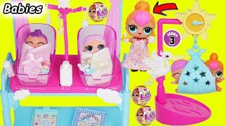 LOL Surprise! Dolls - New Baby Dress, Babysits Lil Sisters at Playmobil School - Toy Surprise Video!