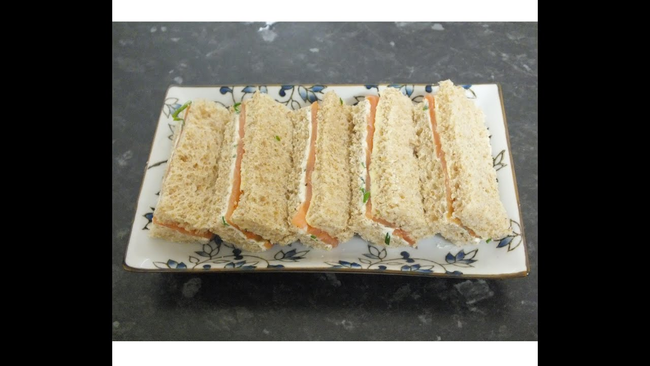 Tea Sandwiches Smoked Salmon and Chive Cream Cheese finger Sandwich ...