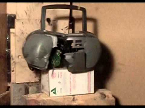 Air Cannon #42 - Shooting A Radio With Darts And Its Own Batteries