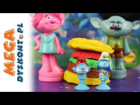 Smerfy Stikeez & Trolle & Play-Doh - Hamburgery - Bajki dla dzieci
