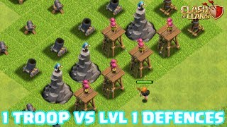 ONE TROOP vs LEVEL ONE DEFENCES!! 🔥 IMPOSSIBLE TROOP CHALLENGE IN CLASH OF CLANS! 🔥