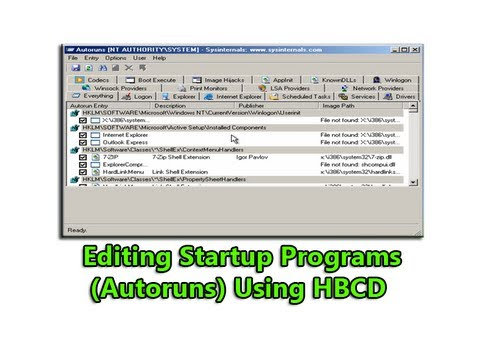 Editing Startup Programs (Autoruns) Using HBCD by Britec