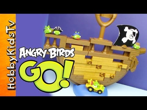 Angry Birds Go Jenga Game - Bad Piggies Ship - Toy review and play