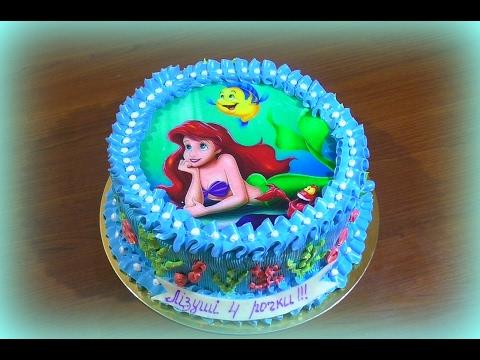 Торт Русалка Как нанести вафельную картинку на торт  Mermaid cake