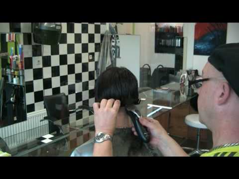 How to Do a Man's Clipper Haircut : Cutting Hair at an Angle for a Man's DL Ultra Short Extreem Bob Haircut Clipper/ Scissor technic ,By Theo Knoop