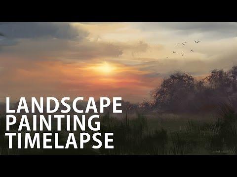 Digital painting timelapse - landscape