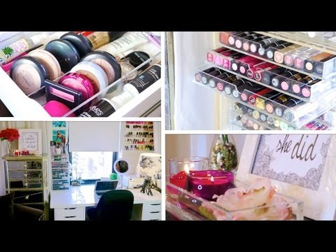 Desk & Makeup TOUR! ♥ (+ Organization Ideas)
