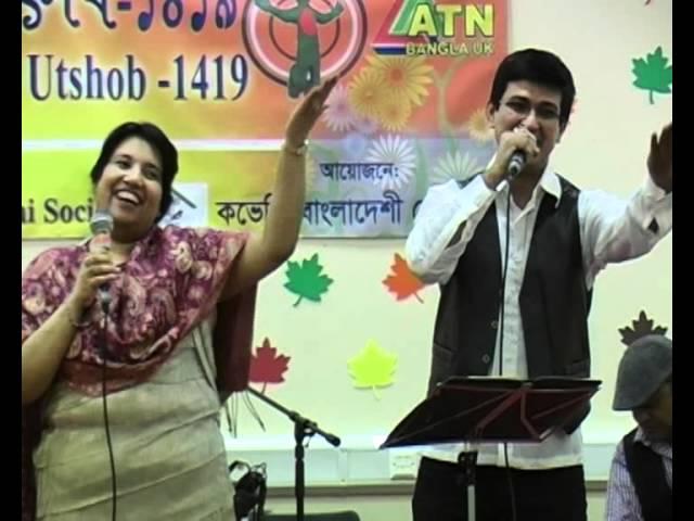 Cllr Maya Ali with Sanjoy singing in CBS Baishakhi Uthsab'1419 by Raihan