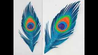 Diy How to make Easy Paper Peacock Feather