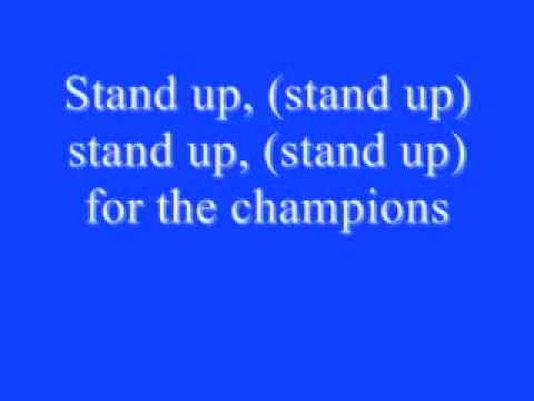 Stand Up For The Champions Lyrics video
