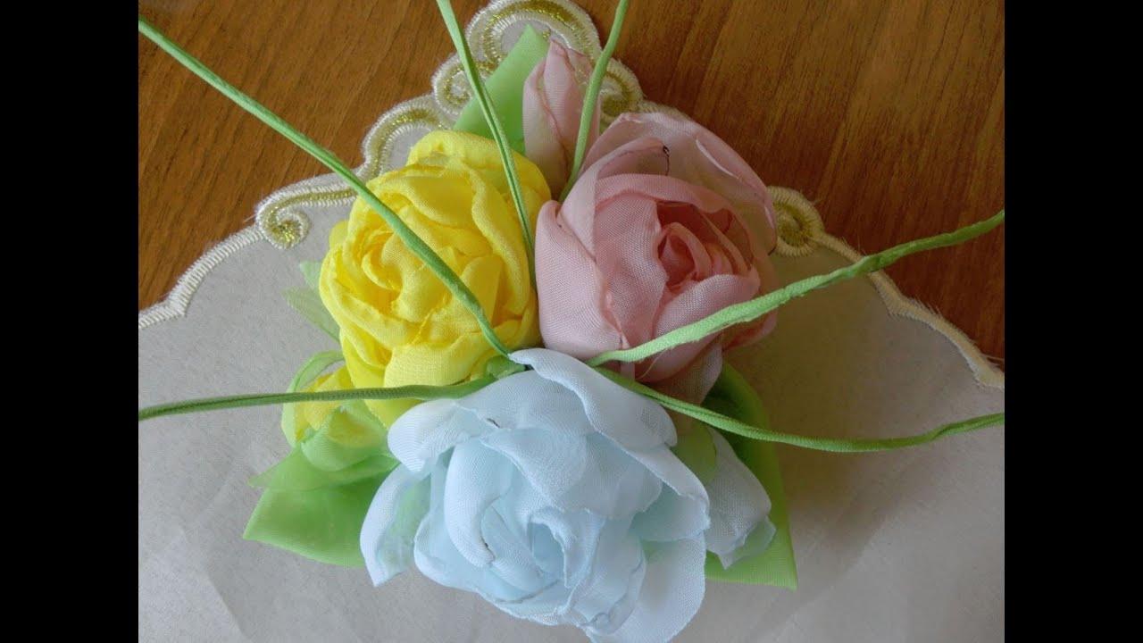 Цветы из органзы ткани своими руками