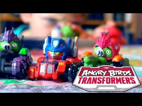 Angry Birds Transformers Toys - Optimus Prime Bird Raceway Unboxed