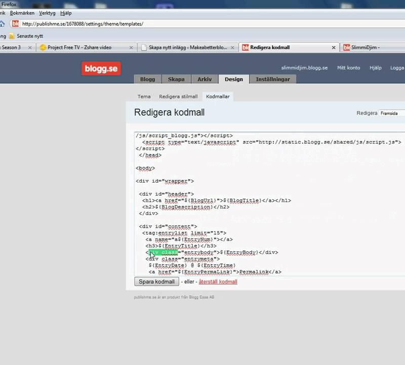 Hur man l�gger till en facebook gilla knapp p� blogg.se - YouTube