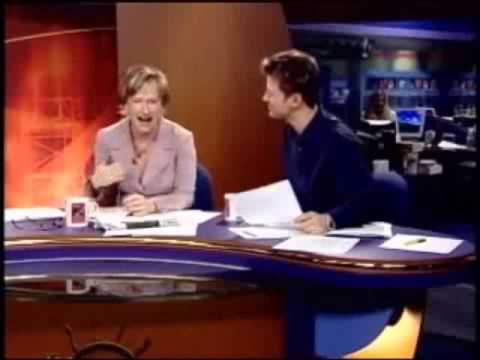News anchor farts then can't stop laughing!!