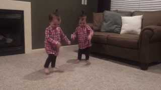 19 Month Old Twins Dancing to Daddy's Guitar
