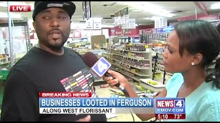 "Reporter Talks To Employee Of Looted Store In Ferguson. ""These People Are Opportunists"" (8/16/2014)"