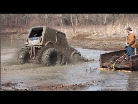 ULTRA STUCKFEST!! JEEP, COWBOY CADILLAC, MONSTER CHEVY, FORD & GUY FALLS IN MUD!!