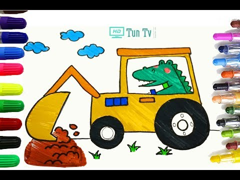 How to Draw a Crocodile driving excavator Cute and Easy step by step | Coloring Book| Tun TV