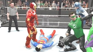 WWE 2K15 - AVENGERS VS JUSTICE LEAGUE - ELIMINATION CHAMBER MATCH