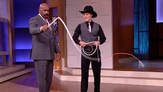 Steve Harvey Learns How to Use a Whip