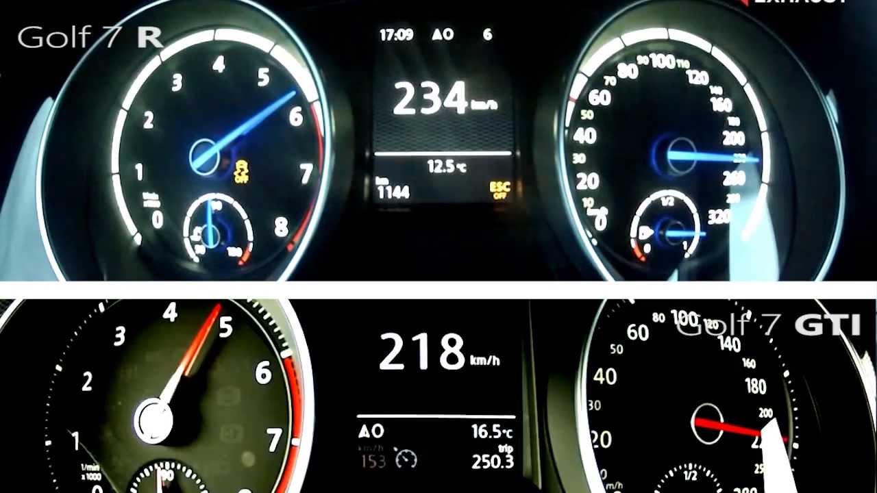 Golf Gti Top Gear >> Acceleration Golf 7 R vs Golf 7 GTi - Vmax 251 km/h - YouTube
