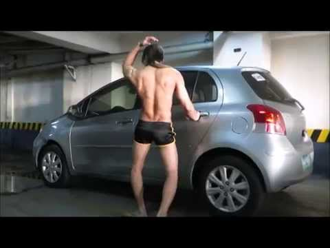 Carwash Boy Macho Dancer Stripteasing Ledge Dancing