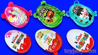 Super Surprise Eggs Kinder Joy Toys Minions Peppa Pig Disney Princess Pokemon Learn Colors Play Doh