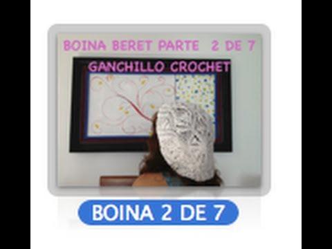 2 DE 7 COMO TEJER GORRO BOINA DISEÑO PIÑAS GANCHILLO CROCHET, DIY TUTORIAL