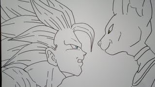 Drawing DBZ Battle Of Gods SSJ3 Goku VS Bill