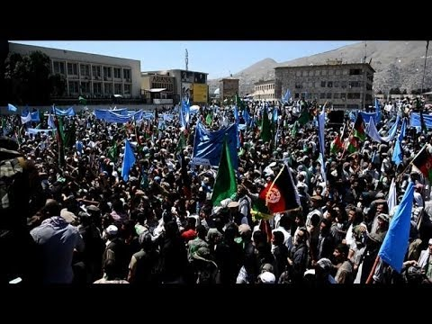 Protesters shout support for Abdullah Abdullah in Kabul