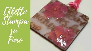 Tutorial: Effetto stampa su ciondolo in fimo (printing effect on polymer clay) [sub-eng]