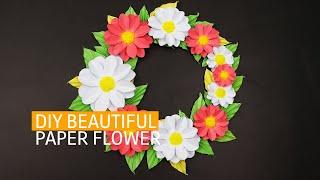 DIY Beautiful Paper Craft Flower Wall Decor idea