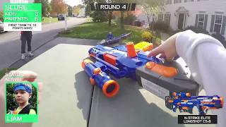 Nerf War:  Parents vs Kids 2
