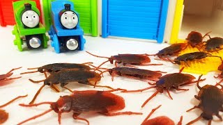 Thomas & Chuggington the Tank Engine, Tayo the Little Bus Garage Toy Cockroach Monster Story