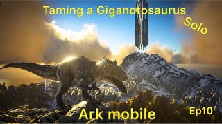 Taming a Giganotosaurus solo ark mobile official pvp ep10