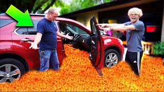 I Filled My Dads Car With Thousands Of Basketballs...