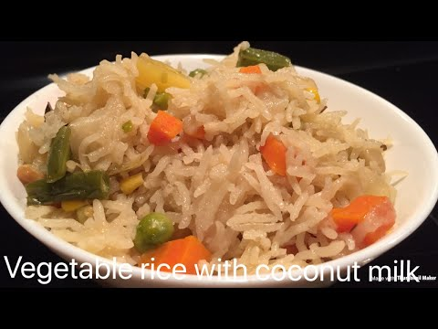Vegetable rice with coconut milk~coconut milk pulao~kobbari annam~vegetable rice recipe in telugu