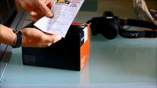 Unboxing Sony DT SAL 55-300 mm f4.5-5.6 SAM telephoto lens for Sony Alpha.
